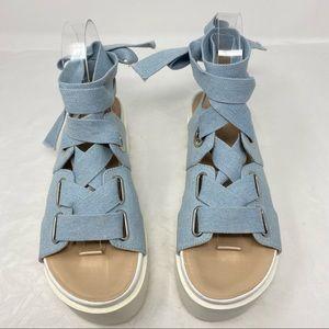 UO Denim Lace-Up Wrap Platform Flatform Sandals